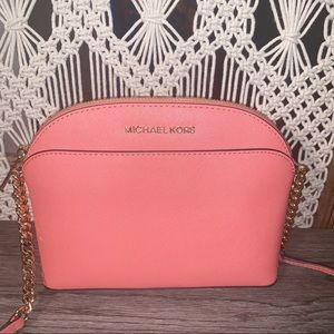 NWT Michael Kors M Pink Grapefruit Dome crossbody